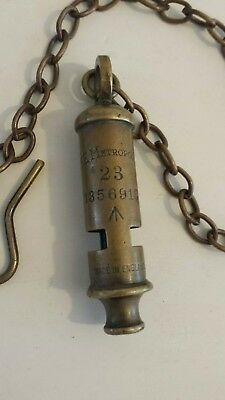 Vintage The Metropolitan Brass Service Police Whistle. Stamped With 'Crows' Foot