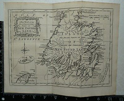 1759 A New Map of the Most Frequented Part of New Found Land by Thomas Kitchen