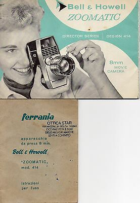 BELL & HOWELL ZOOMATIC 8mm MOVIE - MANUALE ISTRUZIONI  ORIGINALE CARTACEO FTS37