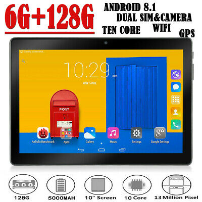 "10.1"" Tablet PC Android 8.1 6G+128G Ten Core Wifi Dual SIM & Camera GPS Phablet"