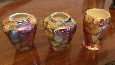 3 Vintage Vases- Oldcourt Ware Hand-painted Lustreware - Small