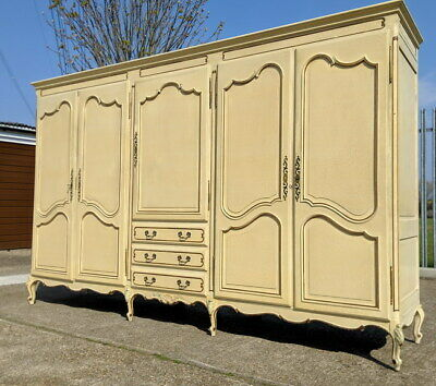 Louis XV Style Vintage French Shabby Chic Carved 5 door Armoire Wardrobe