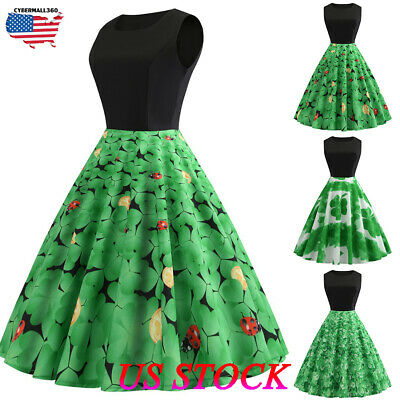 bea894325 Patricks Day Women Vintage 1950s Retro Shamrock Sleeveless Prom Swing Dress  St Women