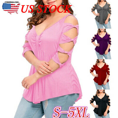 Fashion Womens Blouse Cold Shoulder Ladies Summer T Shirt Loose Casual Tops Size