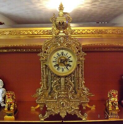 Fine quality Large 19thc French Ornate Gilt brass 8 Day Mantle Clock Japy Freres