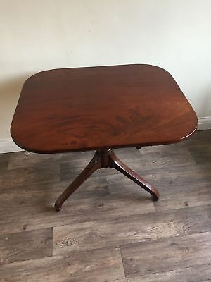 Antique Victorian Mahogany Tilt Top Square Tripod Table