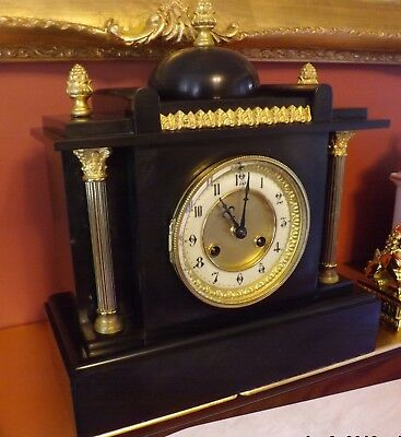 Beautiful Belgium Slate and Gilt 8 Day Mantle Clock