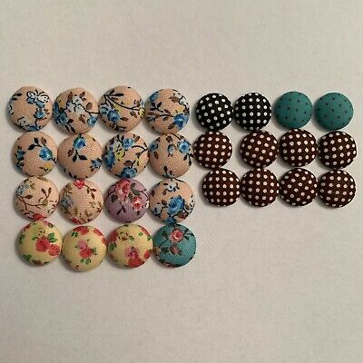 Material Covered Buttons - Craft, Earring Making, Embellishments **28 Pieces**