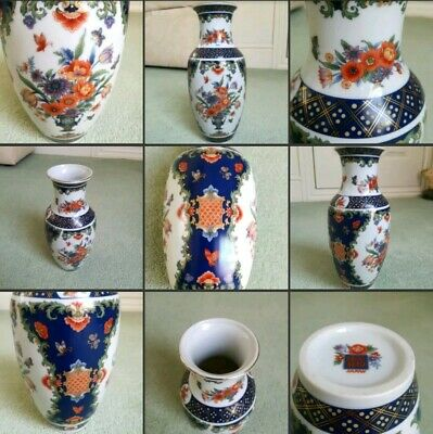 *Used*Beautiful China Oriental Vase Blue Orange Gold Japanese Flowers Home Decor