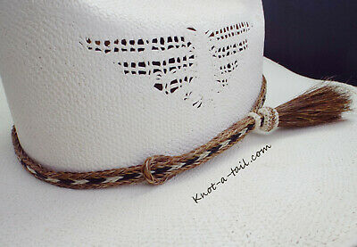 Horsehair Hat band, Side tassel, 3 strand horsehair hat band, adjustable, Rodeo