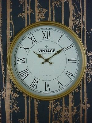 wall clock Large gold effect antique effect 40cm 16inch large clock aged finish