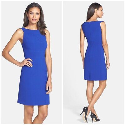 5af7d0ab Womens Tahari ASL Size 6 Sleeveless Bateau Neck Sheath Career Dress Cobalt  Blue