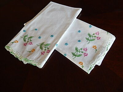 Vintage White PINK Green Floral Pillowcases Embroidered PAIR Crochet 30'X20""