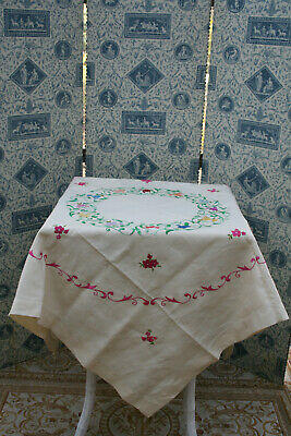 Stunning Vintage Expertly Hand Embroidered Linen Tablecloth Florals.