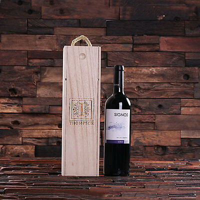 Personalised Single Bottle Wine Box Carrier for Parties Housewarming Wine Lovers