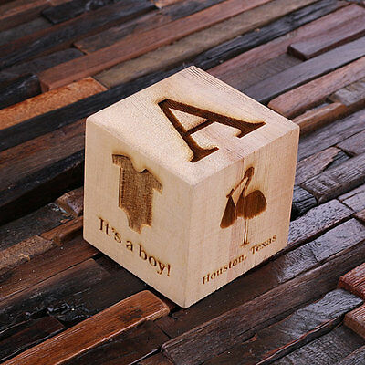 """Personalised Baby Block Wooden Cube 3"""" - Lovely Commemorative Newborn Gift"""