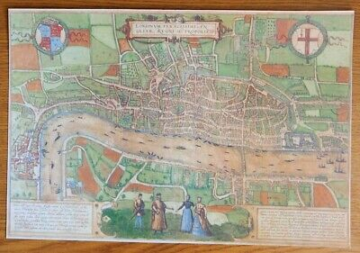 Map Print For Framing Of An Antique Braun & Hogrburg Circa 1575 Map Of London