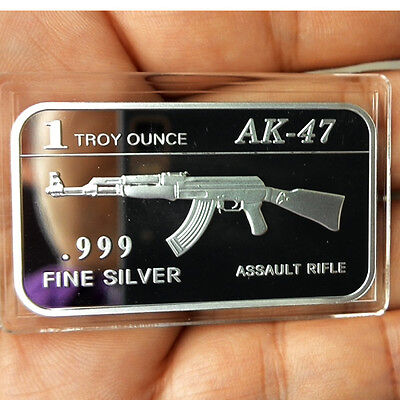 AK-47 Assault Rifle design, 1 Troy oz .999 Solid Fine silver Bullion bar.  NEW!