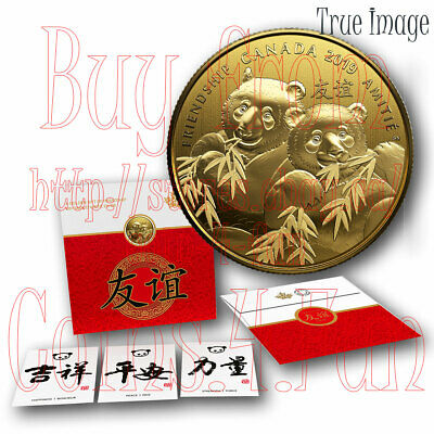 2019 Pandas A Golden Gift of Friendship $8 Pure Silver Gold-Plated Coin Canada