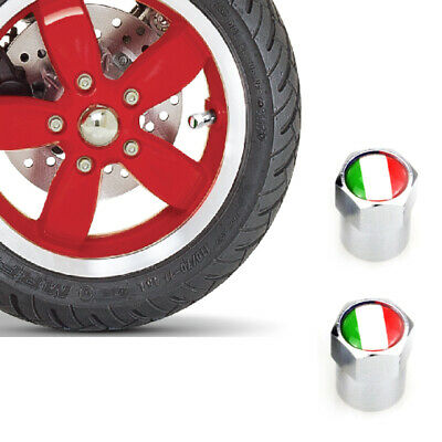 x2 Dust Caps Scooter Italian Flag Logo Chrome Cap Moped Vespa Scooter Motorbike
