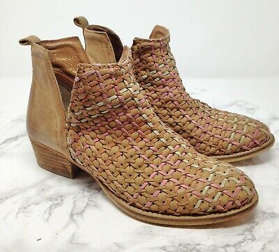 e615fb0c28 Diba True STRUCK GOLD Tan Multicolor Woven Leather Ankle Boots Size 8M  169