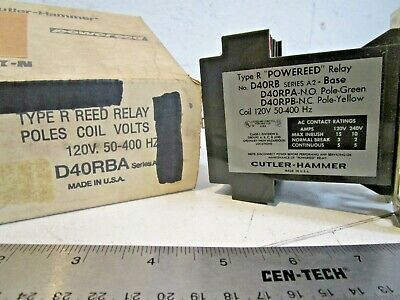 Cutler Hammer D40RBA Relay, Reed Type, 120V