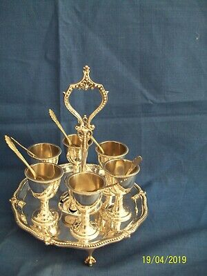 Antique Silver Plated Egg Cups And Tray