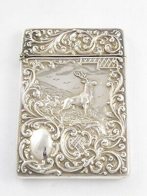 Rare Antique Edwardian Solid Sterling Silver Stag Card Case Crisford Norris 1903