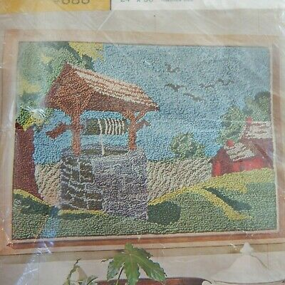 VTG New Aunt Lydia's Wishing Well #688 Punch Needle Rug Wall hanging Canvas