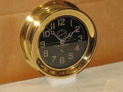 "Chelsea  Antique U.s.navy Ships Clock~Deck Clock #1~6"" Dial~1918~Ww1"