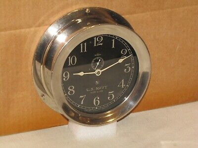 "Chelsea  U.s.navy Ships Clock~Nickel Case~6"" Dial~1940~Ww2 Liberty Ship~Restored"