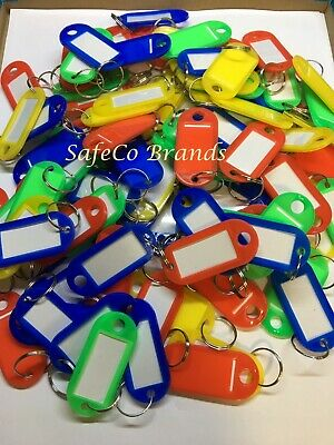 100X Plastic Key Tags Label Keychain W/ Split Ring SafeCo Brands 100 Pack