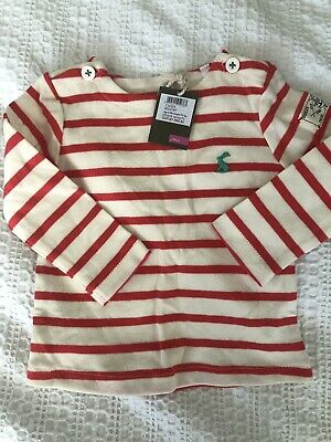 Joules Baby 6-9 Months Red Striped Long Sleeve Top BNWT