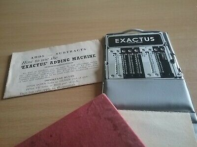 Vintage Pocket Size Exactus Adding Machine With Instructions