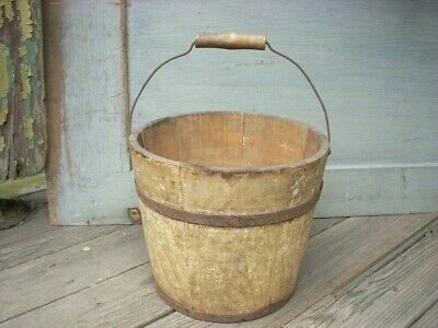 "Antique Primitive 6"" Small Early Oyster Paint Wood Staved Bucket Pail - SIGNED -"
