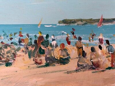 Original Oil Painting A Day At The Beach Impressionism Donald Fraser Australian