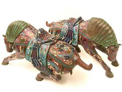 Fabulous Large Pair of Rare 19th C. Antique Chinese Cloisonne Horse Sculptures