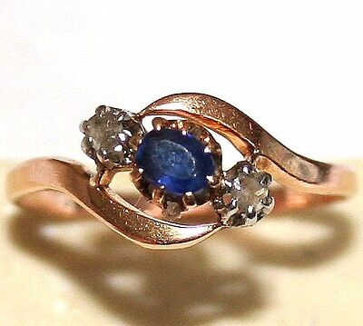 ANTIQUE VICTORIAN FRENCH 18k GOLD ROSE DIAMOND .20Ct SAPPHIRE Me&You RING c 1900