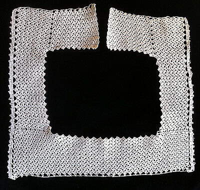 Antique Victorian handmade crochet lace collar steampunk Edwardian square 25.5""