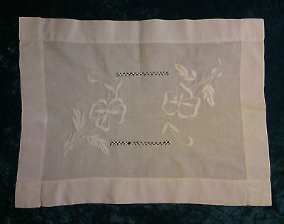 Antique vintage Victorian Edwardian embroidered white table tray cloth floral
