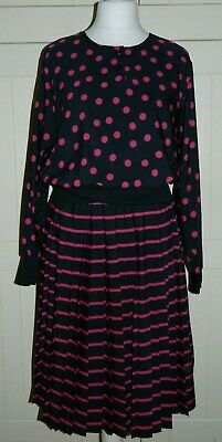 Vintage 1980's Pnk & Black Spots & Stripe Polyester Batwing Ladies Dress Size 14