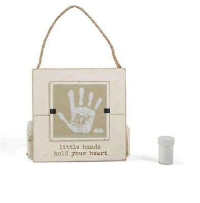 Mud Pie E7 Baby Keepsake Nursery Decor Little Hands Wood Frame 7x7in & Paint Kit