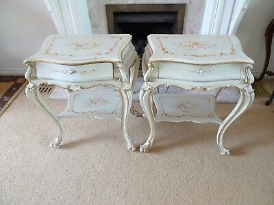 Pair Of Quality Vintage Hand Painted Italian Bedside Tables Delivery Available