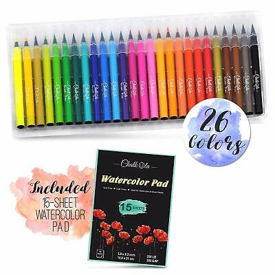 Watercolor Brush Pens | Set of 26 with 15-Sheet Paper Painting Pad | Water Color
