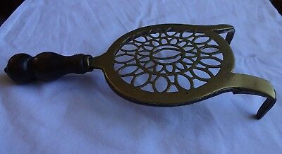 Antique Brass & Cast Iron Trivet with Turned Wood Handle Length 11""
