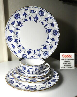 Spode Blue COLONEL 5 Pc Place Setting(s) Beautiful Condition !!