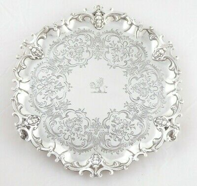FANTASTIC QUALITY ANTIQUE VICTORIAN SOLID STERLING SILVER SALVER 1854 535 g