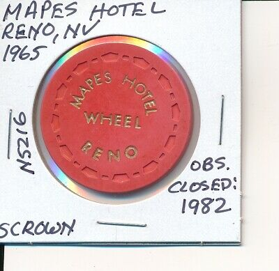 'Wheel' Casino Chip Mapes Hotel Reno Nv 1965 Scrown #N5216 Obs Closed 1982