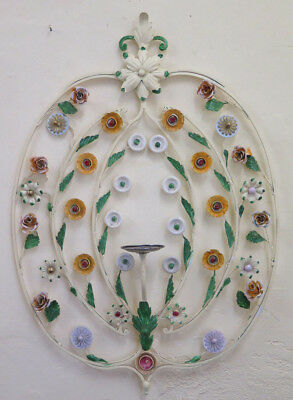 Wall Light Vintage Wrought Iron with Flowers Hand Made Wall Light Ch-3