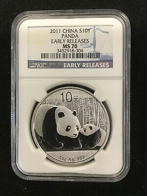 China 2011 1 Oz 999 Silver Panda 10 Yuan Coin NGC MS70 Early Releases
